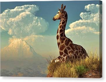 Giraffe And Distant Mountain Canvas Print