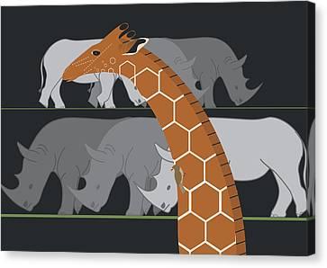 Giraffe And Rhinos Canvas Print