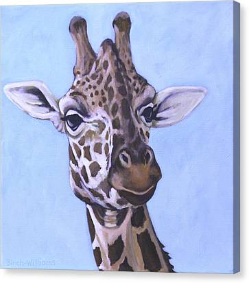 Giraffe Eye To Eye Canvas Print by Penny Birch-Williams