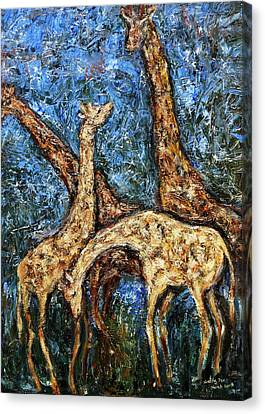 Canvas Print featuring the painting Giraffe Family by Xueling Zou