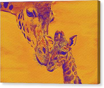 Giraffe Love Canvas Print by Jane Schnetlage