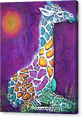 Giraffe Of Many Colors Canvas Print by Laura Barbosa