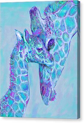 Giraffe Shades  Purple And Aqua Canvas Print by Jane Schnetlage