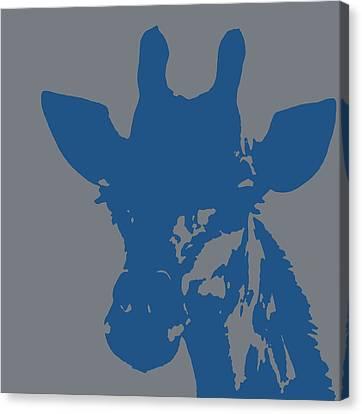 Giraffe Silhouette Grey Blue Canvas Print