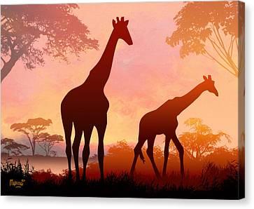 Giraffe Twilight Canvas Print