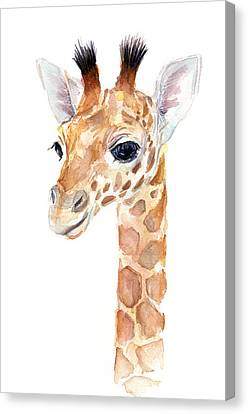 Giraffe Watercolor Canvas Print by Olga Shvartsur