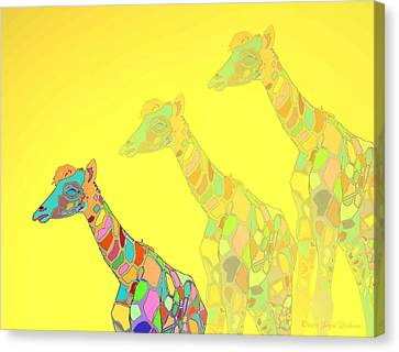 Giraffe X 3 - Yellow - The Card Canvas Print by Joyce Dickens