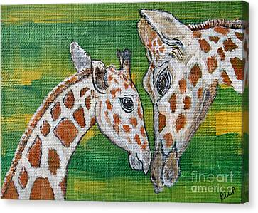 Giraffes Artwork - Learning And Loving Canvas Print