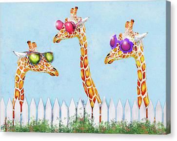 Giraffes In Sunglasses Canvas Print by Jane Schnetlage