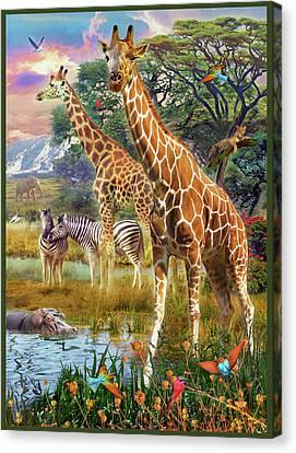 Canvas Print featuring the drawing Giraffes by Jan Patrik Krasny