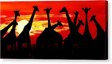 Giraffes Sunset Africa Serengeti Canvas Print
