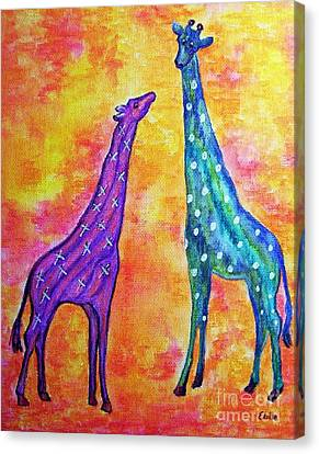 Giraffes With X's And O's Canvas Print by Eloise Schneider
