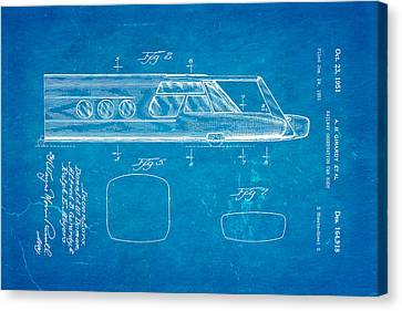 Girardy Railway Observation Car Patent Art  2 1951 Blueprint Canvas Print by Ian Monk