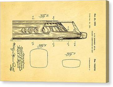 Girardy Railway Observation Car Patent Art  2 1951 Canvas Print by Ian Monk