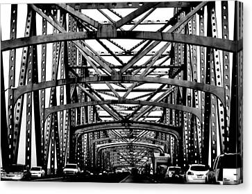 Girders Over The Mississippi In Black And White Canvas Print