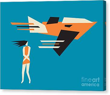 Girl And Airplane Canvas Print by Igor Kislev