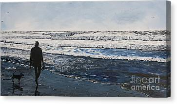 Girl And Dog Walking On The Beach Canvas Print