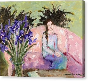 Girl And Iris Canvas Print by J Reifsnyder