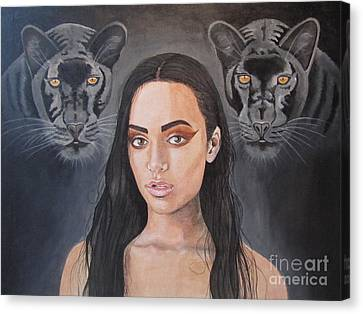 Girl And Panther Canvas Print by Jeepee Aero