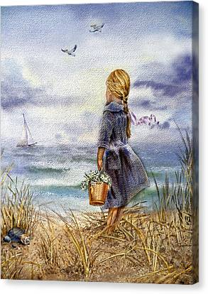 Sea Birds Canvas Print - Girl And The Ocean by Irina Sztukowski