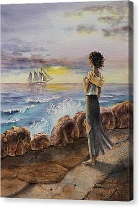 Canvas Print featuring the painting Girl And The Ocean Sailing Ship by Irina Sztukowski