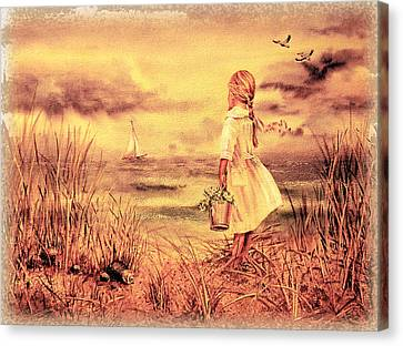 Girl And The Ocean Vintage Art Canvas Print by Irina Sztukowski