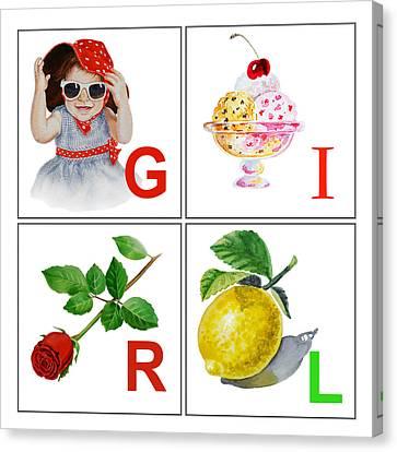 Girl Art Alphabet For Kids Room Canvas Print by Irina Sztukowski
