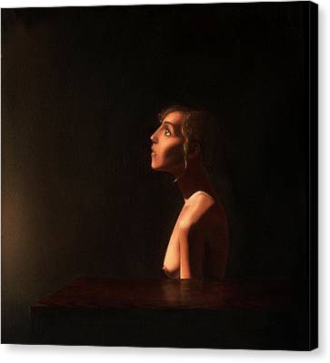 Girl At A Table Canvas Print by Andrew Sandberg