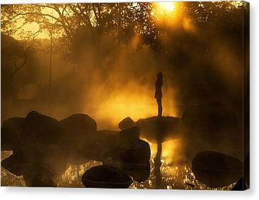 Girl At Hotspring Canvas Print by Arthit Somsakul