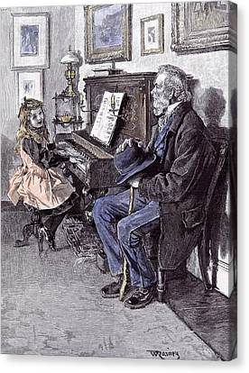 Girl At The Piano In 1891 Grandfather Old Man Hat Walking Canvas Print by English School