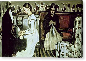 Girl At The Piano Overture To Tannhauser, 1868-69 Oil On Canvas Canvas Print by Paul Cezanne