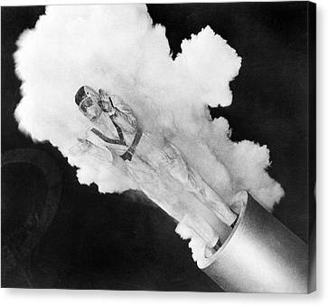 Girl Becomes Human Cannonball Canvas Print by Underwood Archives