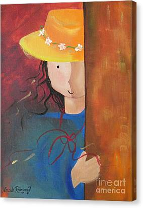 Canvas Print featuring the painting Girl Behind The Door by Nereida Rodriguez