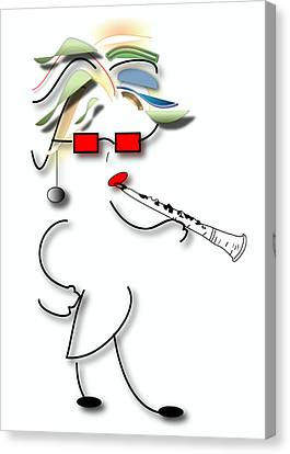 Canvas Print featuring the digital art Girl Clarinet Player by Marvin Blaine