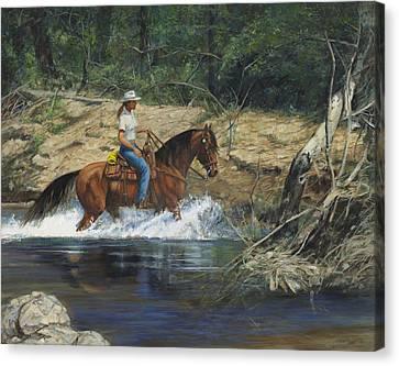 Trail Ride Canvas Print - Girl Crossing Big Creek by Don  Langeneckert