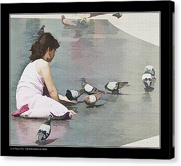 Canvas Print featuring the photograph Girl Feeding Pigeons by Pedro L Gili
