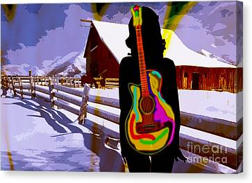 Horse Art Canvas Print - Girl Guitar And Ranch by Marvin Blaine