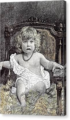 Girl In A Chair Hackney London 1892 Childhood At Home Canvas Print by English School