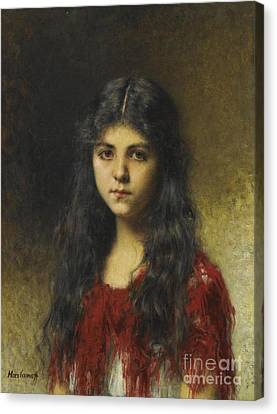 Girl In A Red Shawl Canvas Print by Celestial Images