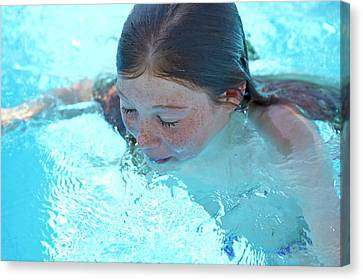 Floating Girl Canvas Print - Girl In A Swimming Pool by Ruth Jenkinson