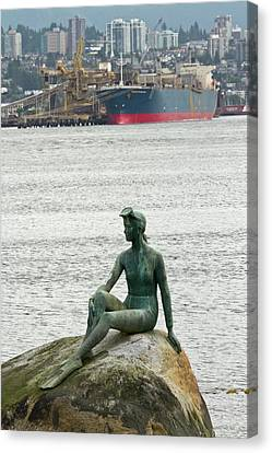 Stanley Park Canvas Print - Girl In A Wetsuit Statue, Stanley Park by William Sutton