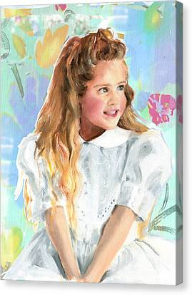 Girl In A White Lace Dress  Canvas Print by Greta Corens