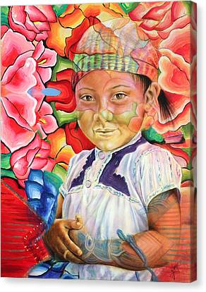 Girl In Flowers Canvas Print by Karina Llergo
