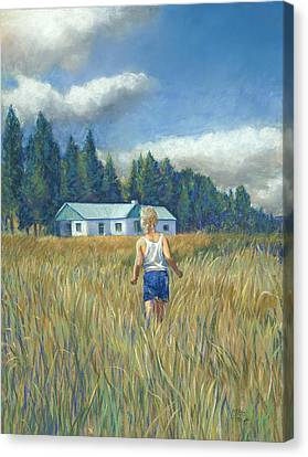 Girl In Hayfield Canvas Print