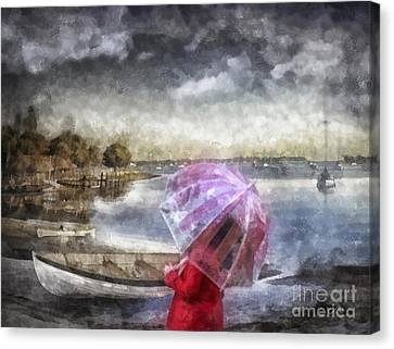 Girl In Red Coat Canvas Print