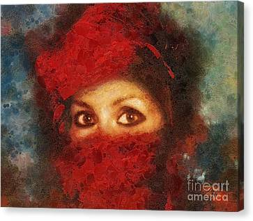 Hidden Canvas Print - Girl In Red Turban by Mo T