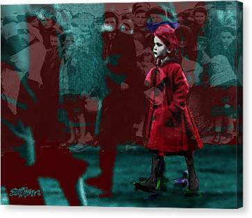 Girl In The Blood-stained Coat Canvas Print by Seth Weaver
