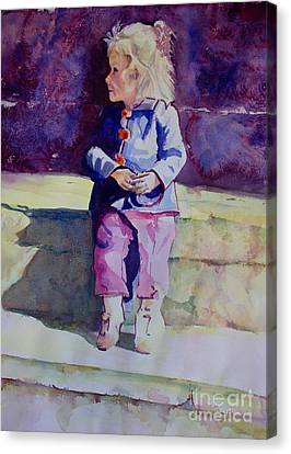Girl In The Blue Jacket Canvas Print by Janet Felts