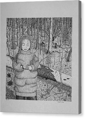 Canvas Print featuring the drawing Girl In The Forest by Daniel Reed