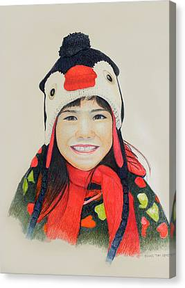 Girl In The Penguin Cap Canvas Print